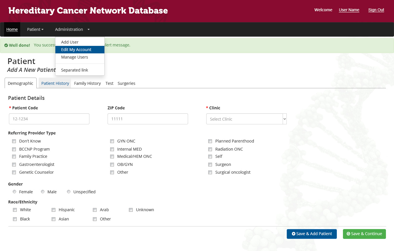 Hereditary Cancer Network Database