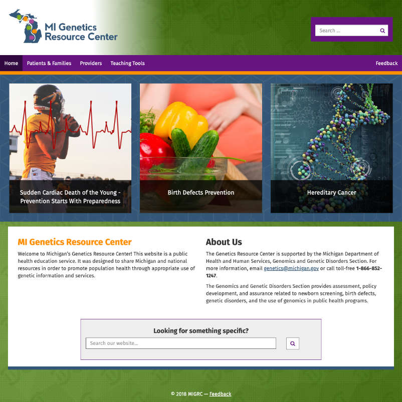 Michigan Genetics Resource Center website
