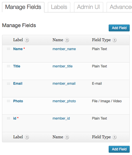 Manage Fields screen